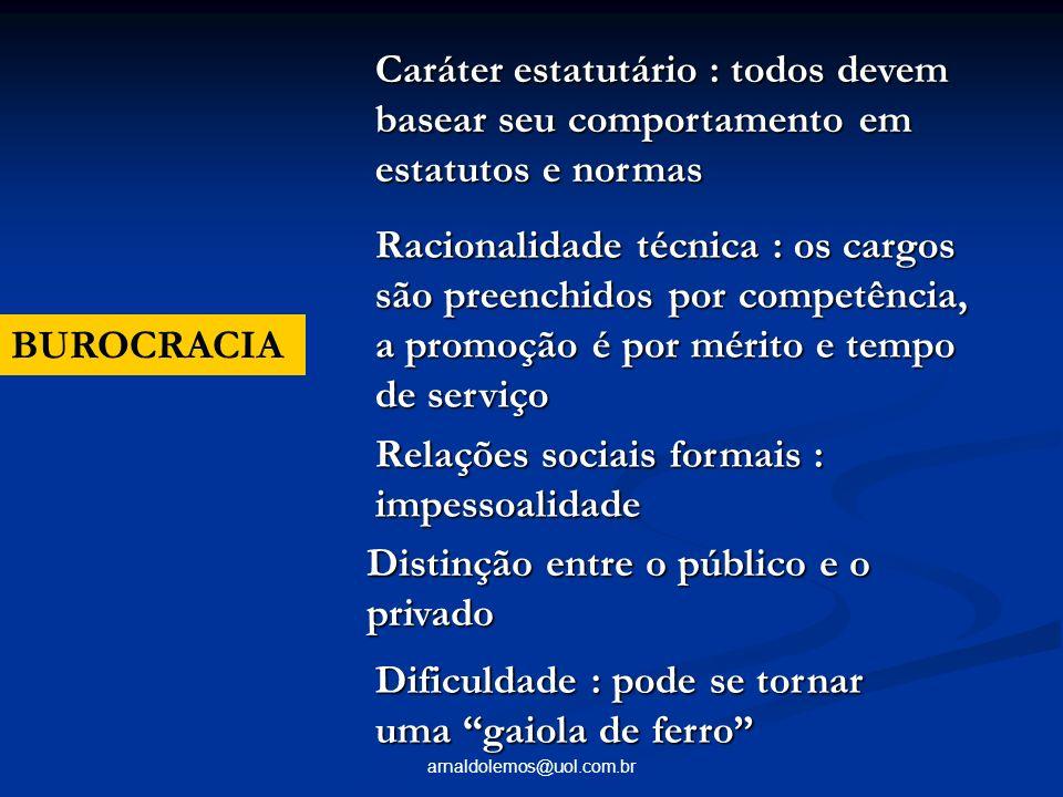 arnaldolemos@uol.com.br BUROCRACIA Caráter estatutário : todos devem basear seu comportamento em estatutos e normas Racionalidade técnica : os cargos