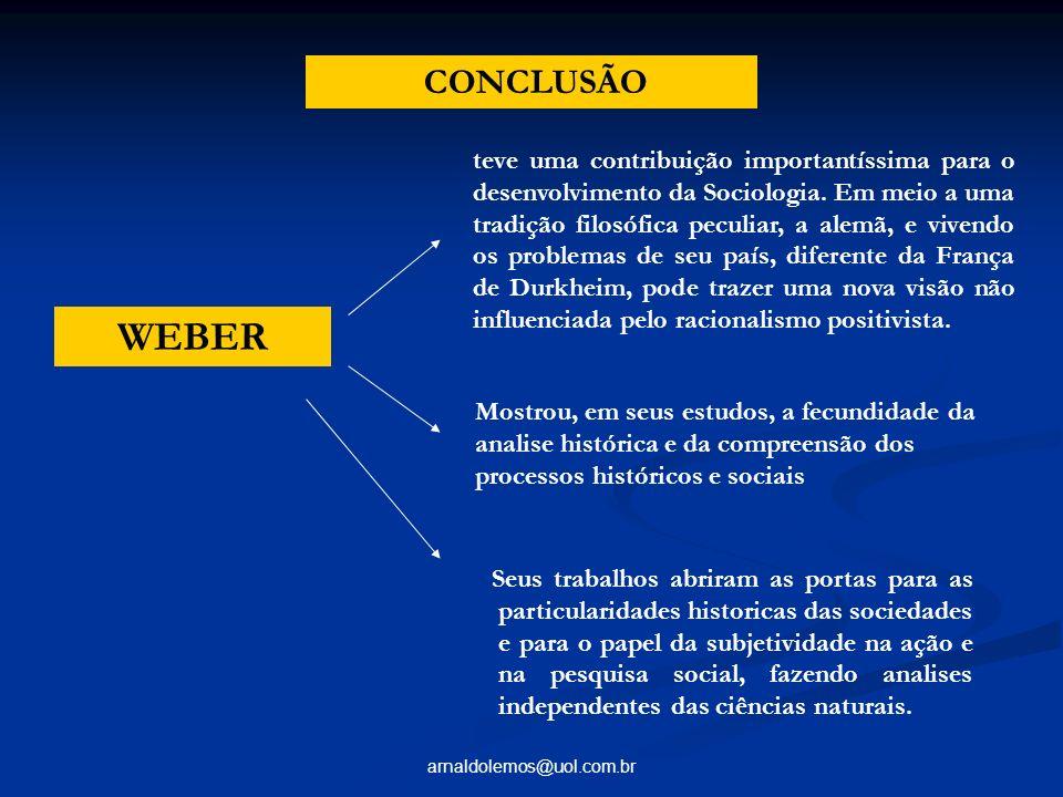 arnaldolemos@uol.com.br CONCLUSÃO teve uma contribuição importantíssima para o desenvolvimento da Sociologia. Em meio a uma tradição filosófica peculi