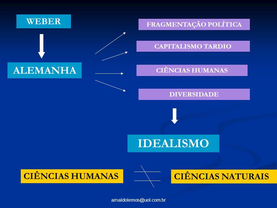 arnaldolemos@uol.com.br FRAGMENTAÇÃO POLÍTICA CAPITALISMO TARDIO CIÊNCIAS HUMANAS DIVERSIDADE ALEMANHA IDEALISMO CIÊNCIAS HUMANAS CIÊNCIAS NATURAIS WE