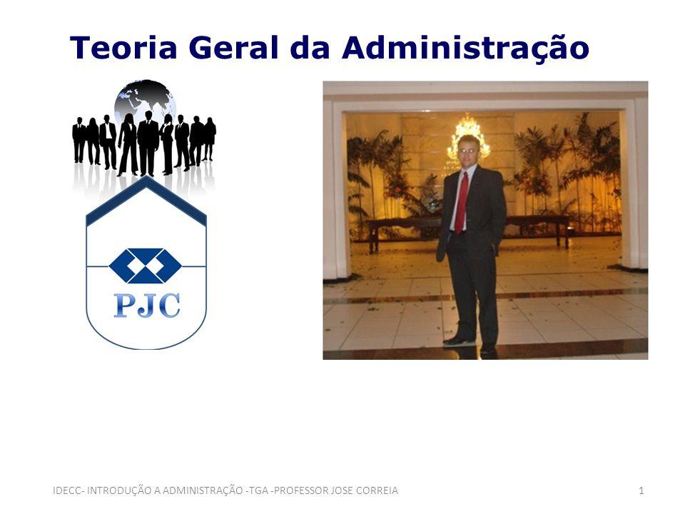 Teoria Geral da Administração 1IDECC- INTRODUÇÃO A ADMINISTRAÇÃO -TGA -PROFESSOR JOSE CORREIA