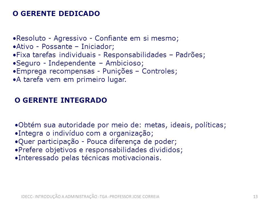 O GERENTE DEDICADO Resoluto - Agressivo - Confiante em si mesmo; Ativo - Possante – Iniciador; Fixa tarefas individuais - Responsabilidades – Padrões;
