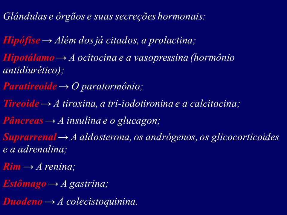 Glândulas e órgãos e suas secreções hormonais: Hipófise Além dos já citados, a prolactina; Hipotálamo A ocitocina e a vasopressina (hormônio antidiuré
