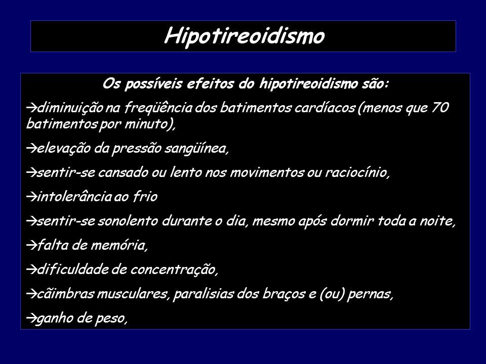 Os possíveis efeitos do hipotireoidismo são: diminuição na freqüência dos batimentos cardíacos (menos que 70 batimentos por minuto), elevação da press