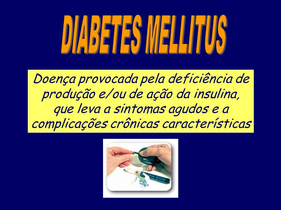Doença provocada pela deficiência de produção e/ou de ação da insulina, que leva a sintomas agudos e a complicações crônicas características