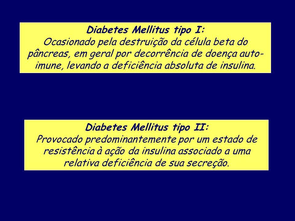 Diabetes Mellitus tipo I: Ocasionado pela destruição da célula beta do pâncreas, em geral por decorrência de doença auto- imune, levando a deficiência