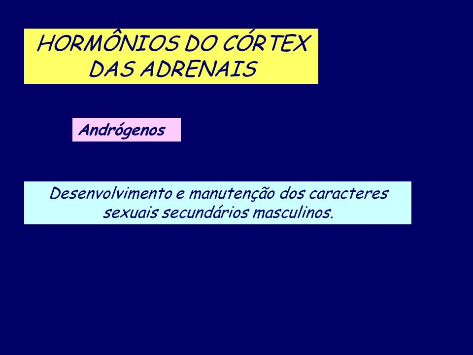 HORMÔNIOS DO CÓRTEX DAS ADRENAIS Andrógenos Desenvolvimento e manutenção dos caracteres sexuais secundários masculinos.