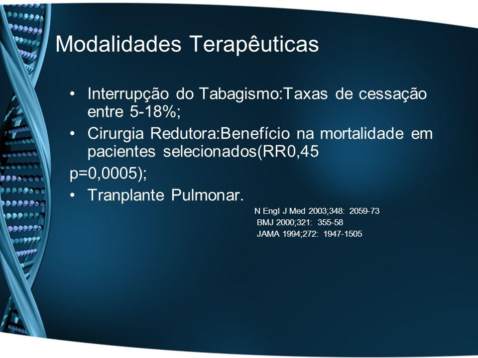 Modalidades Terapêuticas Interrupção do Tabagismo:Taxas de cessação entre 5-18%; Cirurgia Redutora:Benefício na mortalidade em pacientes selecionados(