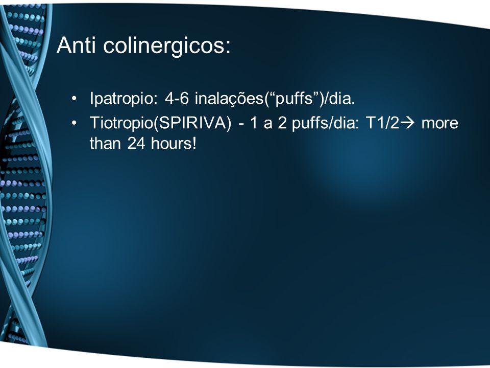 Anti colinergicos: Ipatropio: 4-6 inalações(puffs)/dia. Tiotropio(SPIRIVA) - 1 a 2 puffs/dia: T1/2 more than 24 hours!