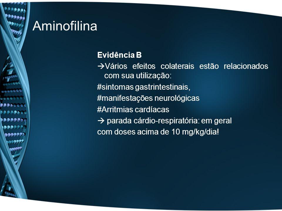 Aminofilina Evidência B Vários efeitos colaterais estão relacionados com sua utilização: #sintomas gastrintestinais, #manifestações neurológicas #Arri