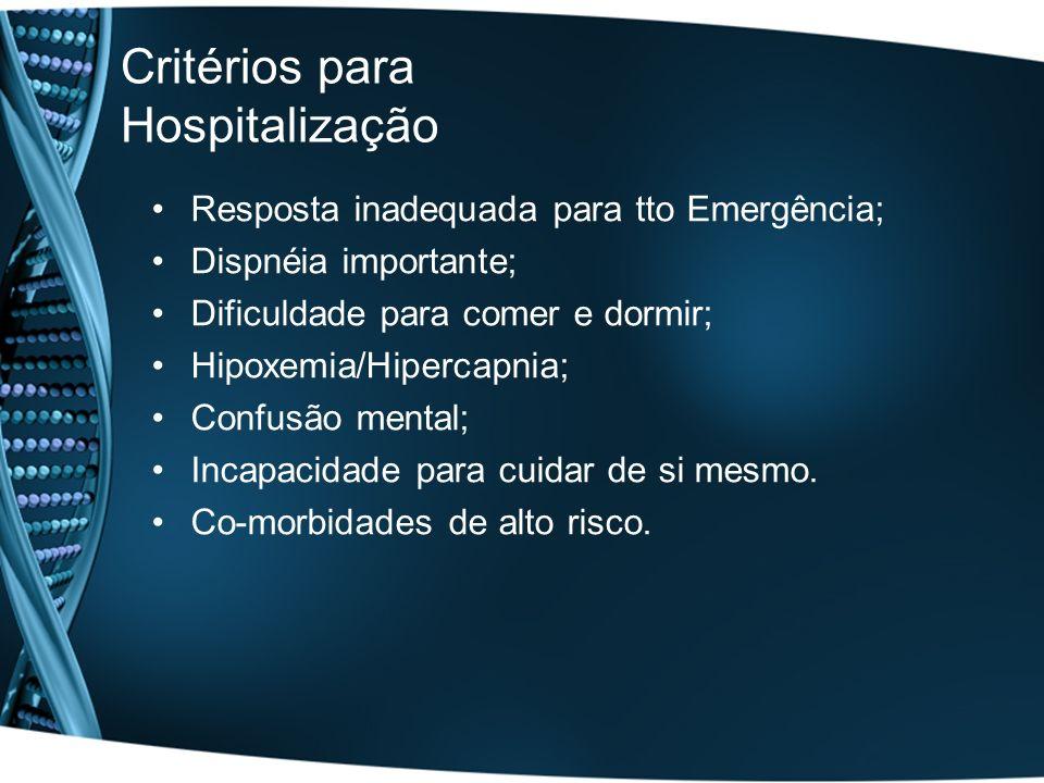 Critérios para Hospitalização Resposta inadequada para tto Emergência; Dispnéia importante; Dificuldade para comer e dormir; Hipoxemia/Hipercapnia; Co