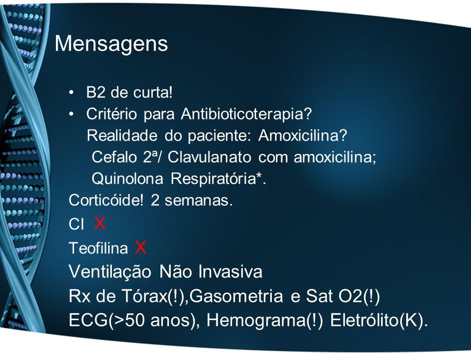 Mensagens B2 de curta! Critério para Antibioticoterapia? Realidade do paciente: Amoxicilina? Cefalo 2ª/ Clavulanato com amoxicilina; Quinolona Respira
