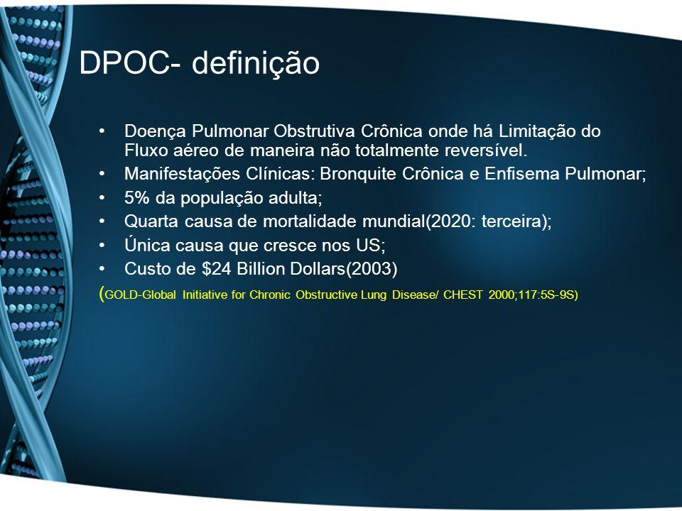 DPOC- definição Doença Pulmonar Obstrutiva Crônica onde há Limitação do Fluxo aéreo de maneira não totalmente reversível. Manifestações Clínicas: Bron
