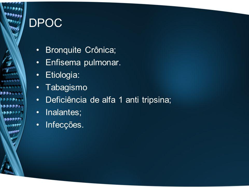 DPOC Bronquite Crônica; Enfisema pulmonar. Etiologia: Tabagismo Deficiência de alfa 1 anti tripsina; Inalantes; Infecções.