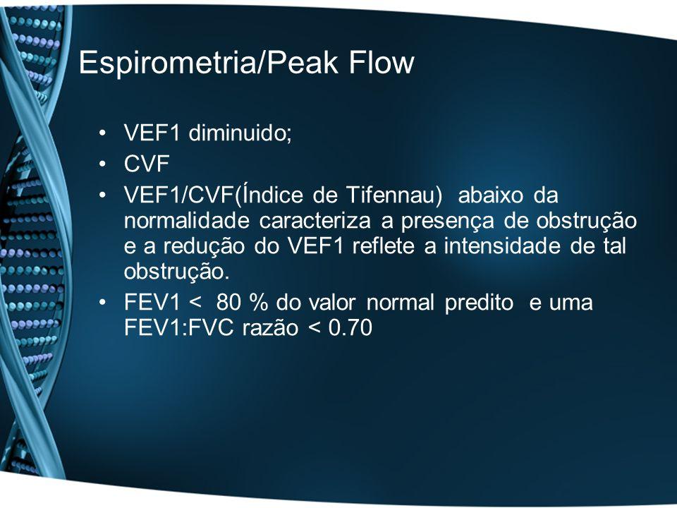 Espirometria/Peak Flow VEF1 diminuido; CVF VEF1/CVF(Índice de Tifennau) abaixo da normalidade caracteriza a presença de obstrução e a redução do VEF1