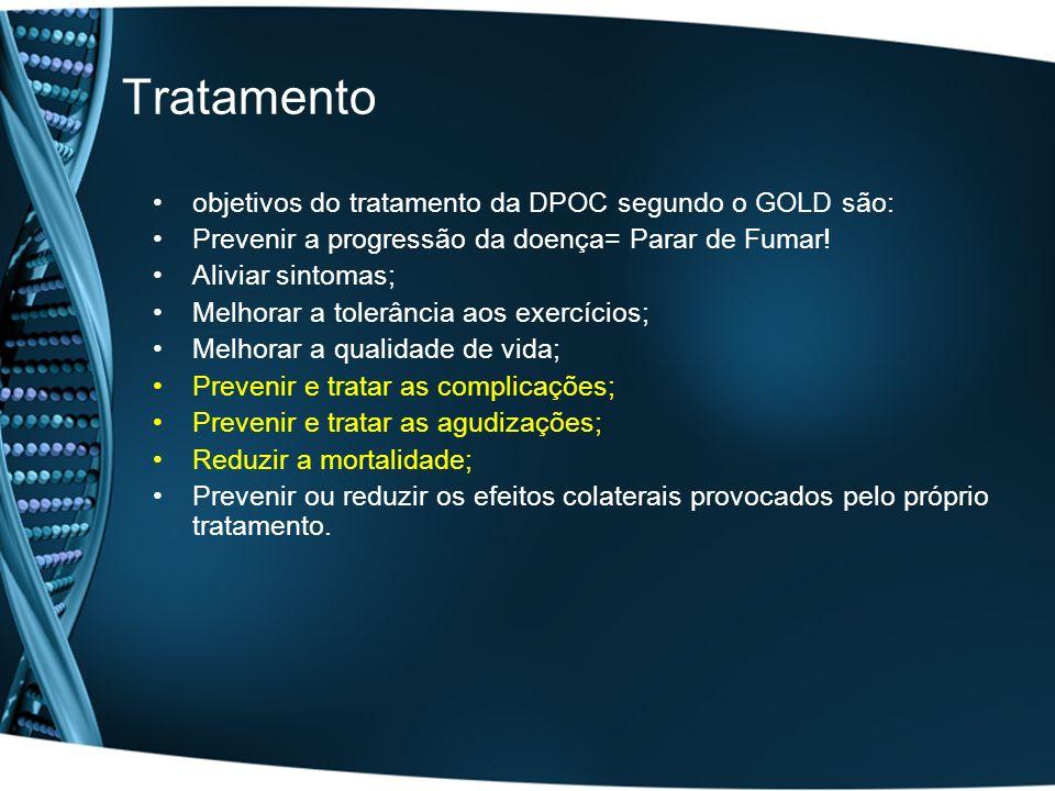 Tratamento objetivos do tratamento da DPOC segundo o GOLD são: Prevenir a progressão da doença= Parar de Fumar! Aliviar sintomas; Melhorar a tolerânci