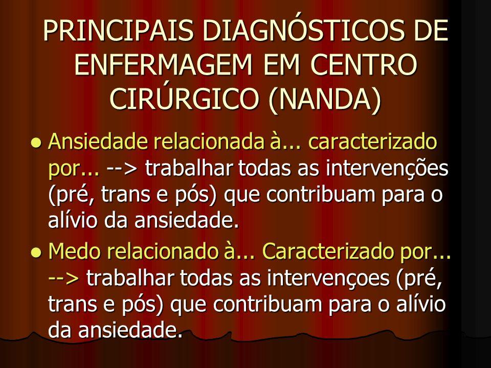 PRINCIPAIS DIAGNÓSTICOS DE ENFERMAGEM EM CENTRO CIRÚRGICO (NANDA) Ansiedade relacionada à... caracterizado por... --> trabalhar todas as intervenções