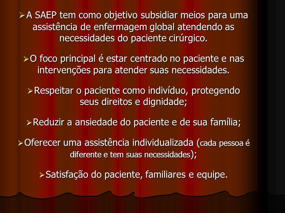 A SAEP tem como objetivo subsidiar meios para uma assistência de enfermagem global atendendo as necessidades do paciente cirúrgico. A SAEP tem como ob