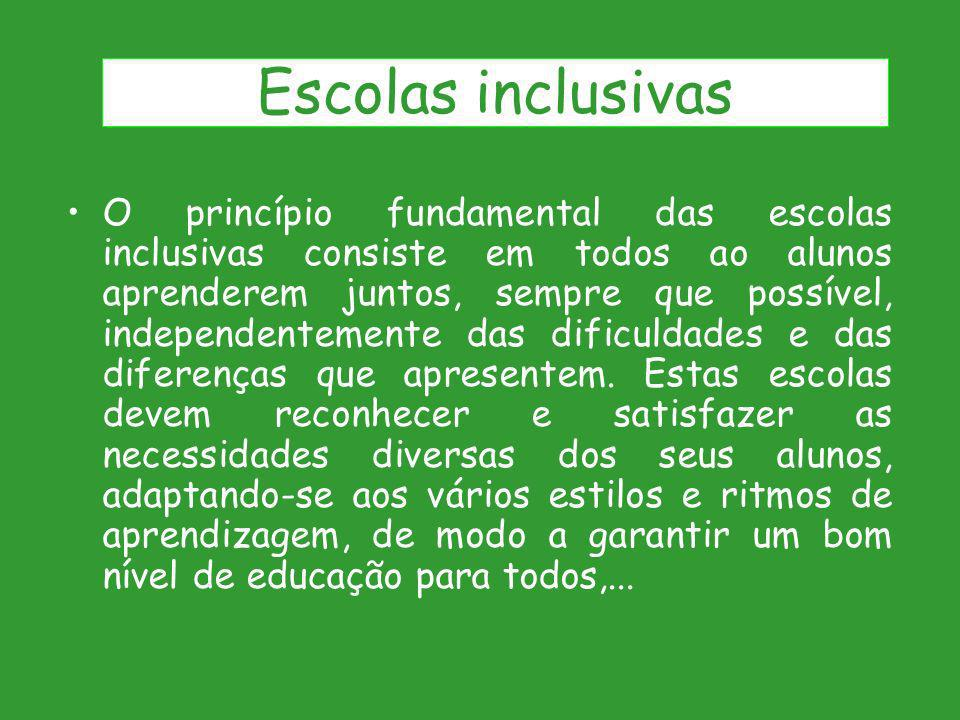 O princípio fundamental das escolas inclusivas consiste em todos ao alunos aprenderem juntos, sempre que possível, independentemente das dificuldades