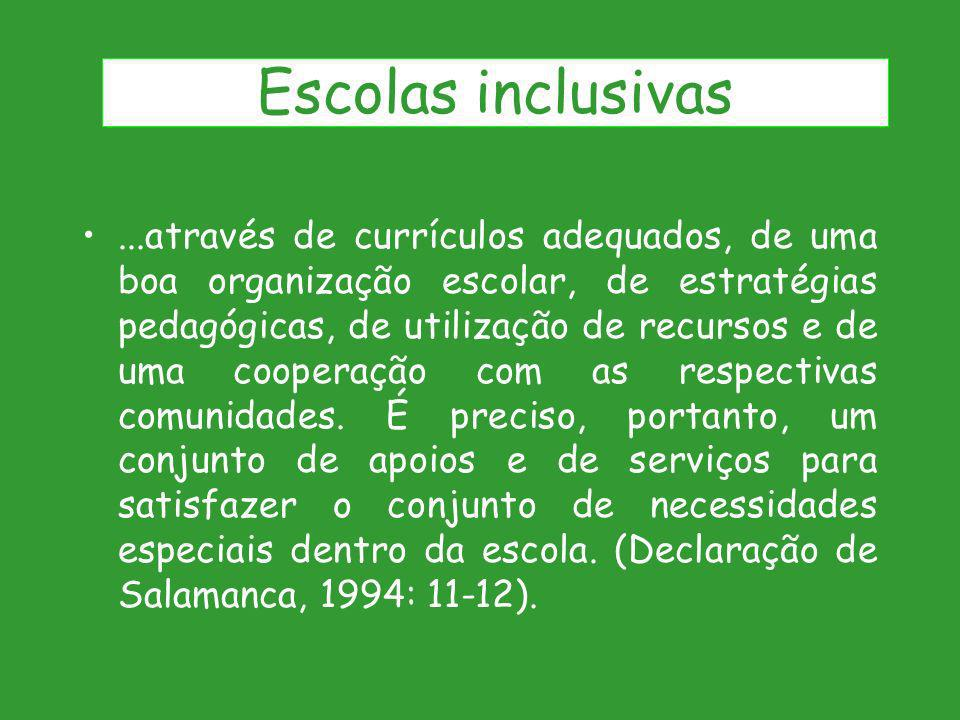 ...através de currículos adequados, de uma boa organização escolar, de estratégias pedagógicas, de utilização de recursos e de uma cooperação com as r