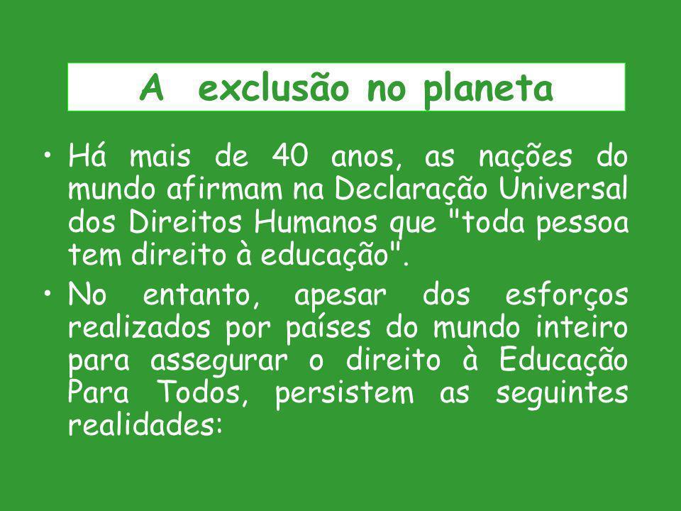 A exclusão no planeta Há mais de 40 anos, as nações do mundo afirmam na Declaração Universal dos Direitos Humanos que