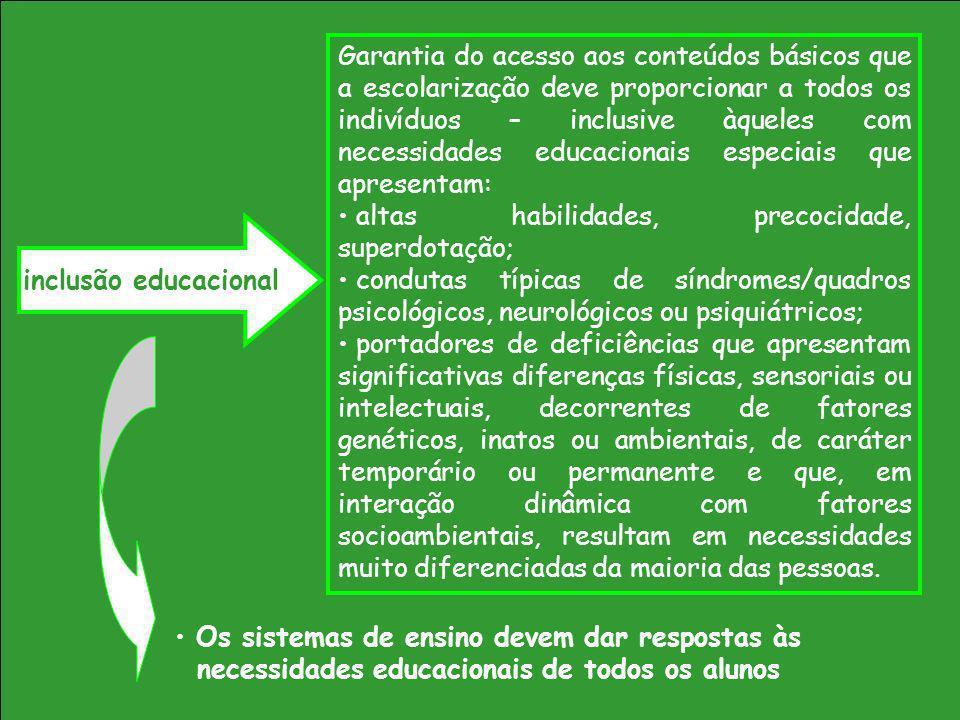 Garantia do acesso aos conteúdos básicos que a escolarização deve proporcionar a todos os indivíduos – inclusive àqueles com necessidades educacionais
