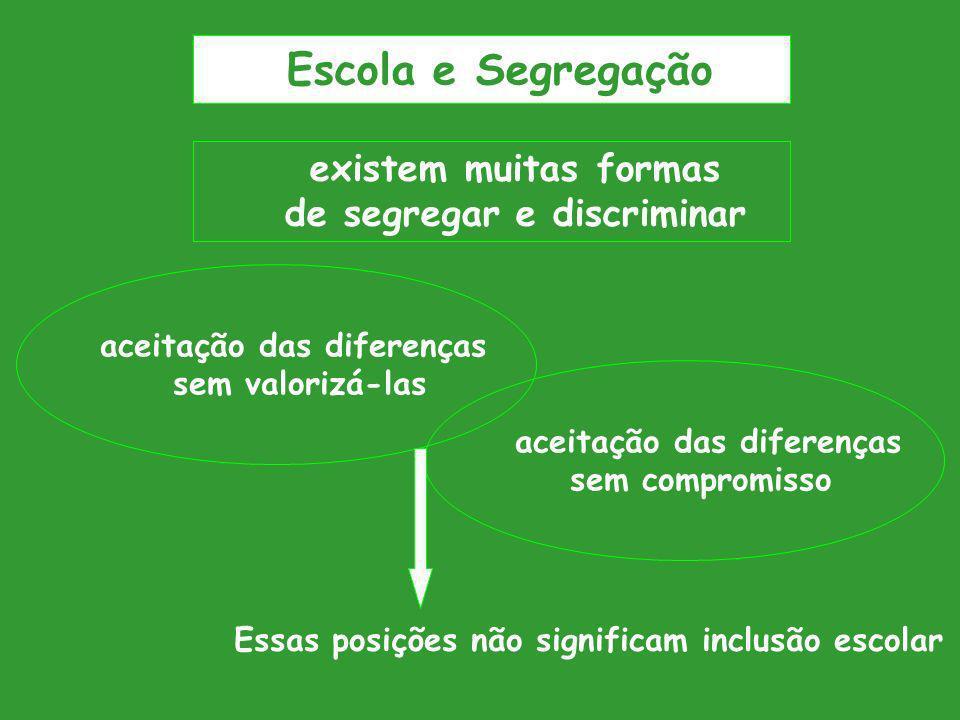 existem muitas formas de segregar e discriminar aceitação das diferenças sem valorizá-las aceitação das diferenças sem compromisso Essas posições não