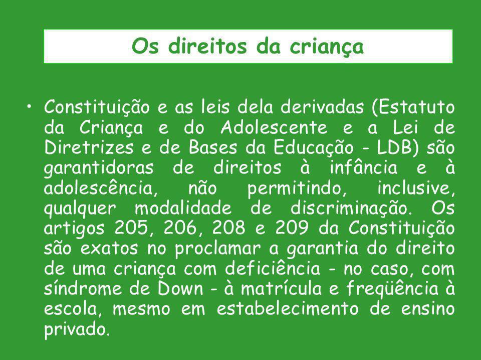 Constituição e as leis dela derivadas (Estatuto da Criança e do Adolescente e a Lei de Diretrizes e de Bases da Educação - LDB) são garantidoras de di