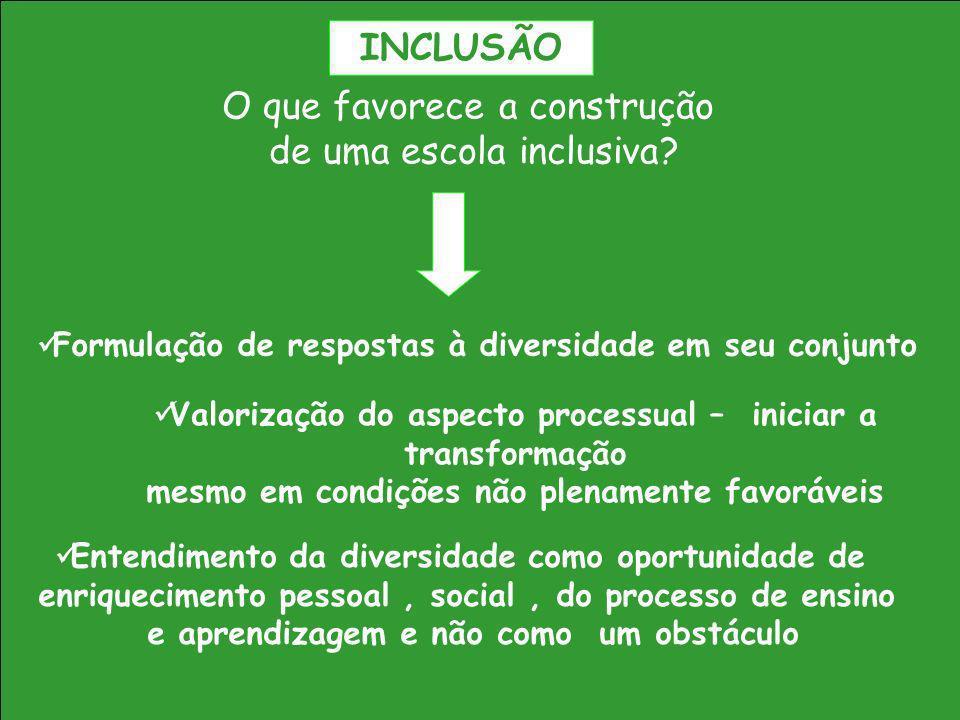 O que favorece a construção de uma escola inclusiva? Formulação de respostas à diversidade em seu conjunto Valorização do aspecto processual – iniciar