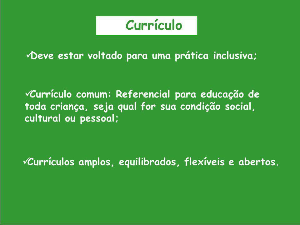 Currículo Deve estar voltado para uma prática inclusiva; Currículos amplos, equilibrados, flexíveis e abertos. Currículo comum: Referencial para educa