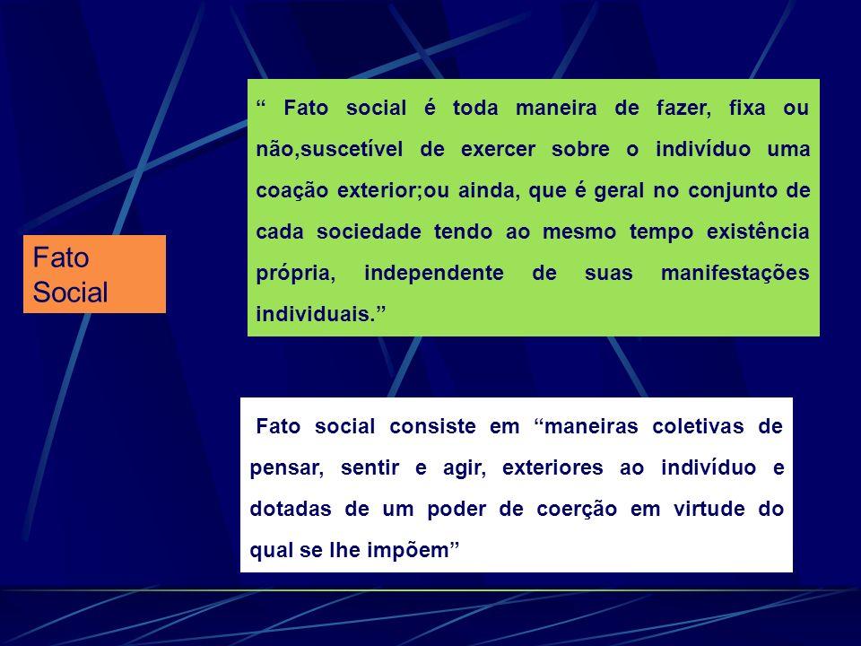Fato Social Fato social é toda maneira de fazer, fixa ou não,suscetível de exercer sobre o indivíduo uma coação exterior;ou ainda, que é geral no conj