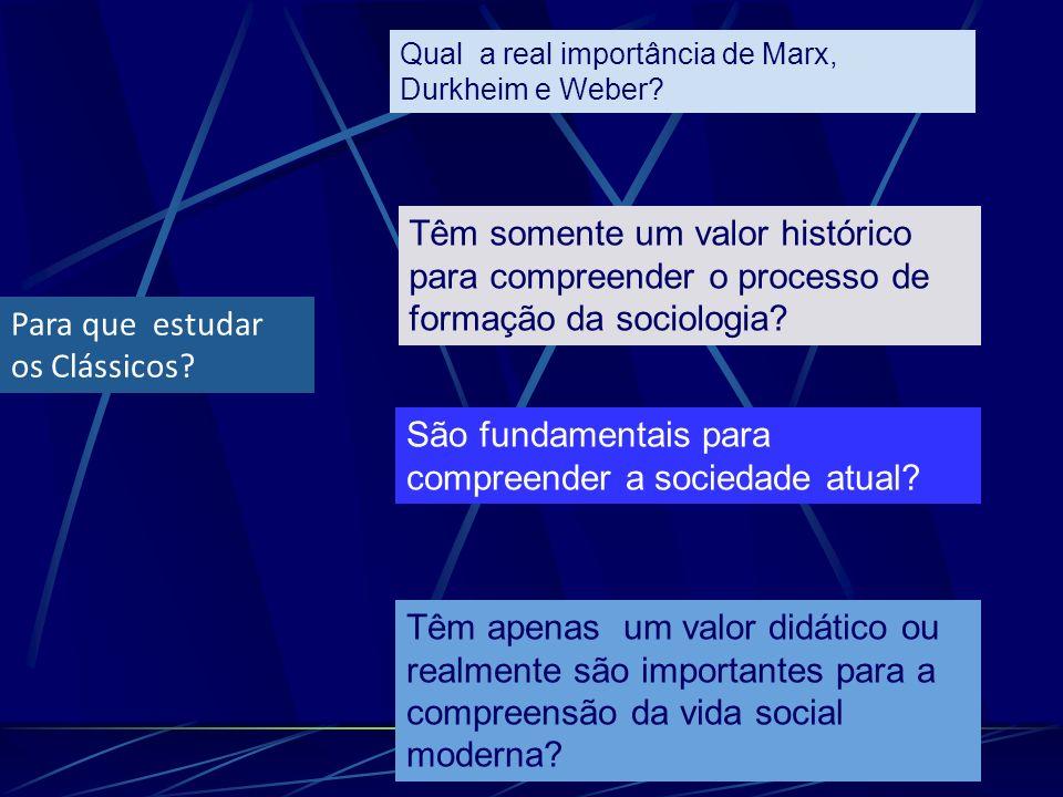 Para que estudar os Clássicos? Qual a real importância de Marx, Durkheim e Weber? Têm somente um valor histórico para compreender o processo de formaç