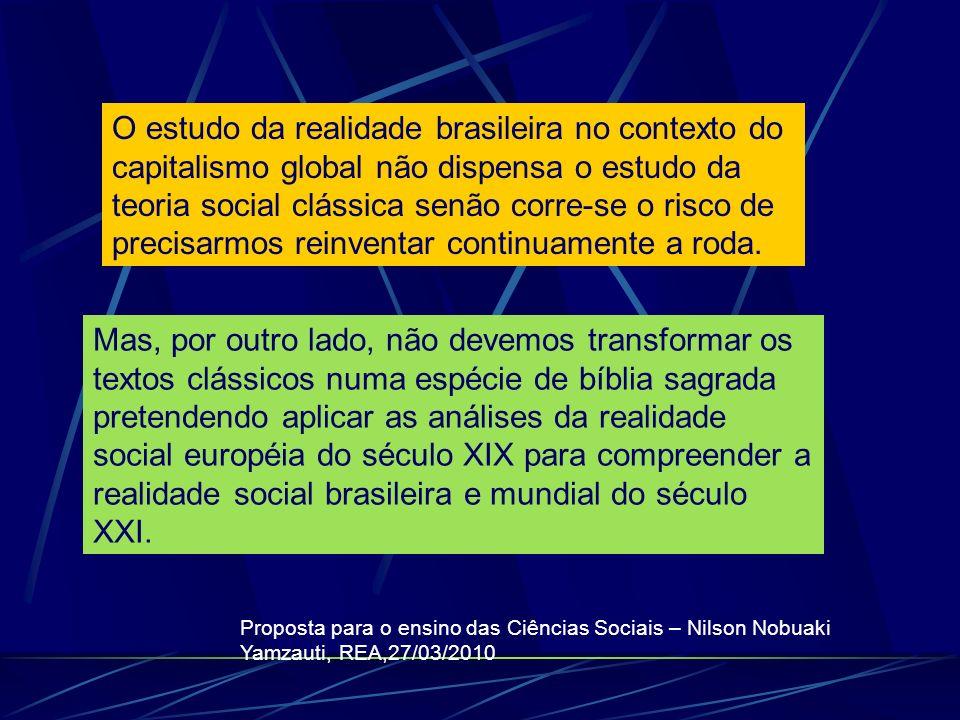 O estudo da realidade brasileira no contexto do capitalismo global não dispensa o estudo da teoria social clássica senão corre-se o risco de precisarm