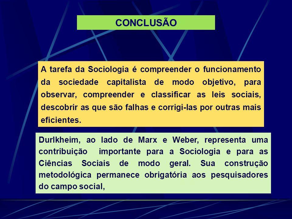 A tarefa da Sociologia é compreender o funcionamento da sociedade capitalista de modo objetivo, para observar, compreender e classificar as leis socia