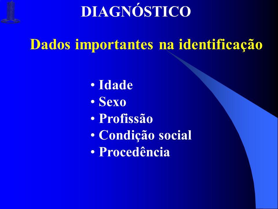 DIAGNÓSTICO Dados importantes na identificação Idade Sexo Profissão Condição social Procedência