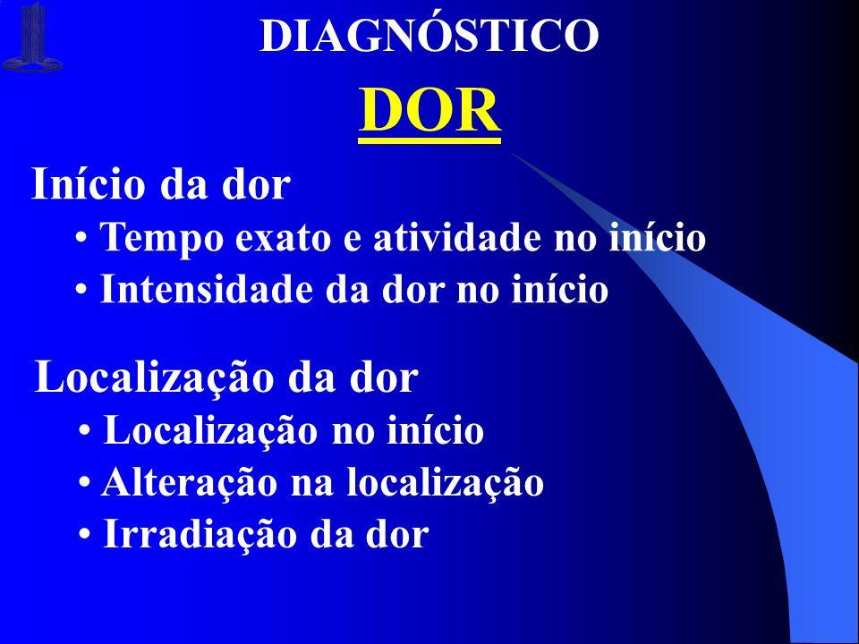 DIAGNÓSTICO DOR Início da dor Tempo exato e atividade no início Intensidade da dor no início Localização da dor Localização no início Alteração na loc