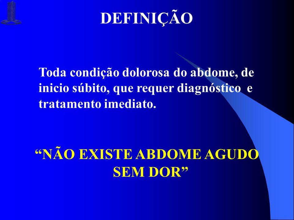 DEFINIÇÃO Toda condição dolorosa do abdome, de inicio súbito, que requer diagnóstico e tratamento imediato. NÃO EXISTE ABDOME AGUDO SEM DOR
