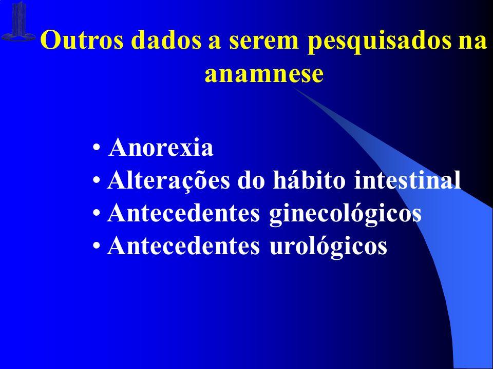 Outros dados a serem pesquisados na anamnese Anorexia Alterações do hábito intestinal Antecedentes ginecológicos Antecedentes urológicos
