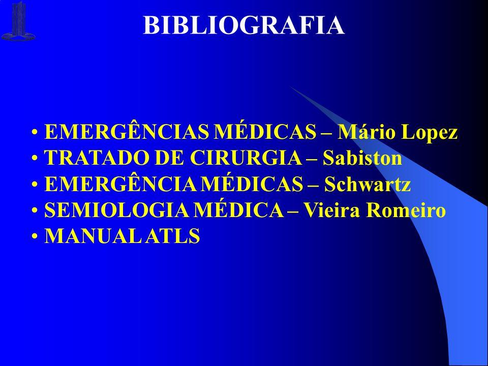 BIBLIOGRAFIA EMERGÊNCIAS MÉDICAS – Mário Lopez TRATADO DE CIRURGIA – Sabiston EMERGÊNCIA MÉDICAS – Schwartz SEMIOLOGIA MÉDICA – Vieira Romeiro MANUAL
