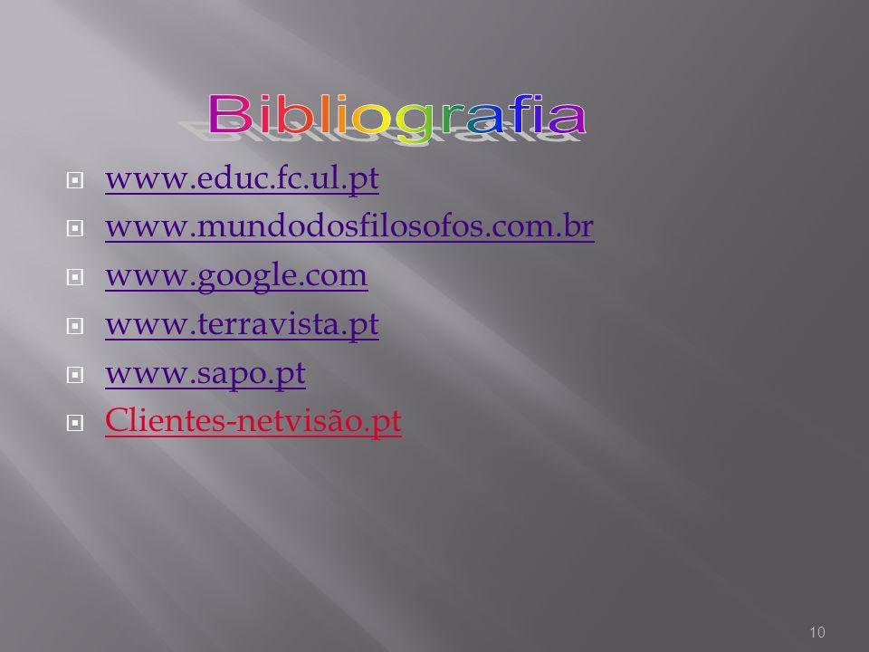 www.educ.fc.ul.pt www.mundodosfilosofos.com.br www.google.com www.terravista.pt www.sapo.pt Clientes-netvisão.pt 10