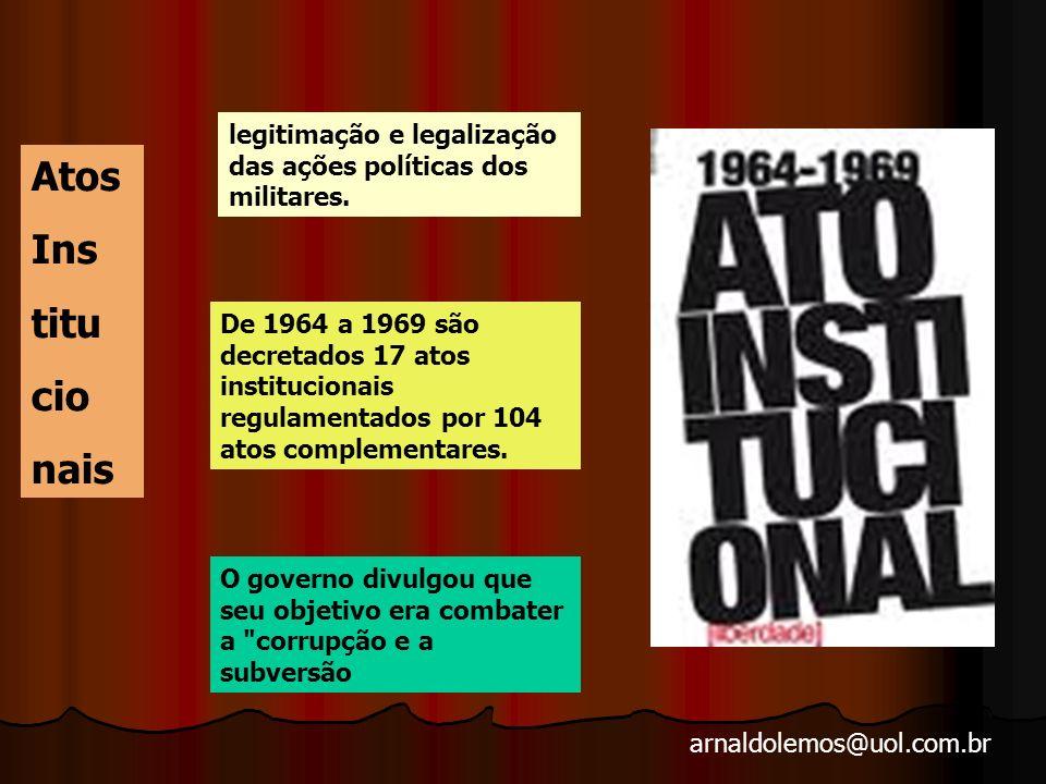 arnaldolemos@uol.com.br 1964/1969 -- PERÍODO DE INSTITUCIONALIZAÇÃO DA NOVA ORDEM