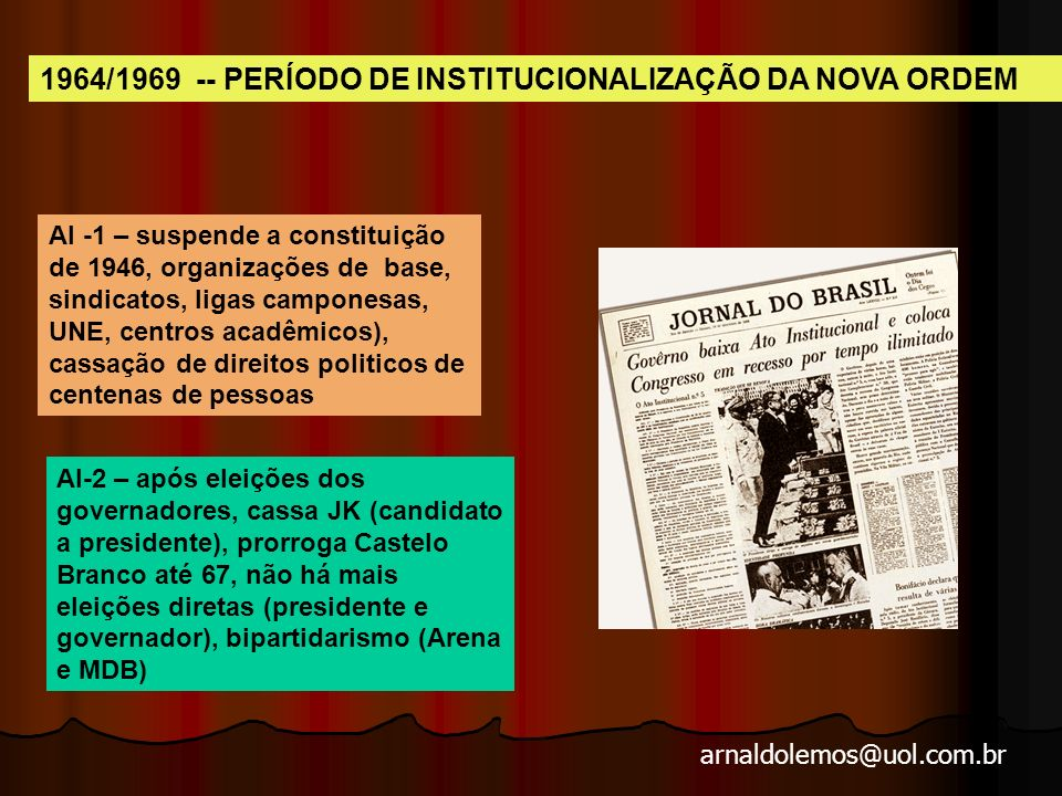 arnaldolemos@uol.com.br Atos Ins titu cio nais legitimação e legalização das ações políticas dos militares.