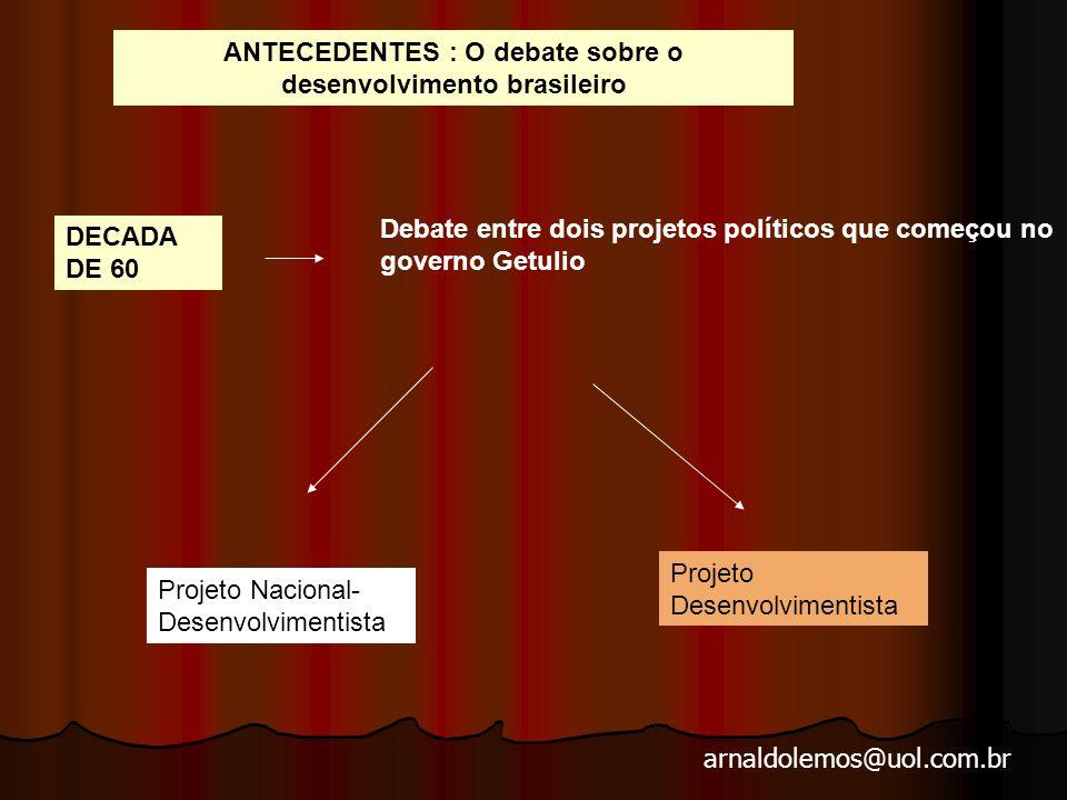 arnaldolemos@uol.com.br DECADA DE 60 Debate entre dois projetos políticos que começou no governo Getulio Projeto Nacional- Desenvolvimentista Projeto Desenvolvimentista ANTECEDENTES : O debate sobre o desenvolvimento brasileiro