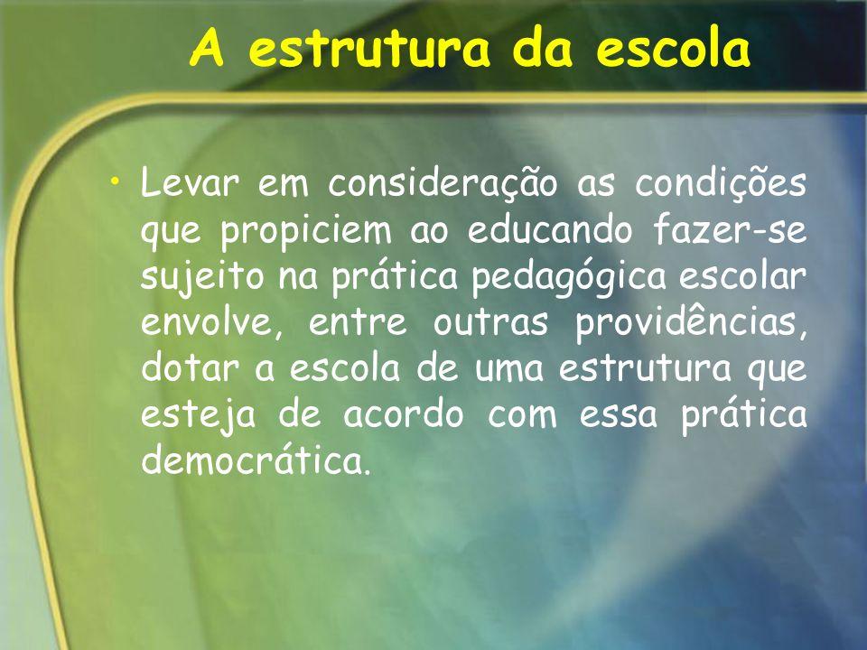 A estrutura da escola Levar em consideração as condições que propiciem ao educando fazer-se sujeito na prática pedagógica escolar envolve, entre outra