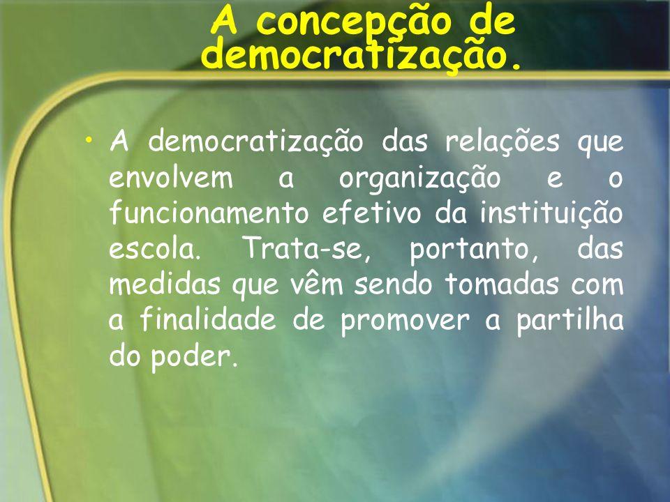 A concepção de democratização. A democratização das relações que envolvem a organização e o funcionamento efetivo da instituição escola. Trata-se, por