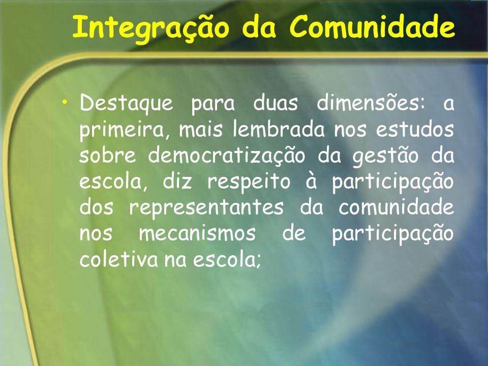 Integração da Comunidade Destaque para duas dimensões: a primeira, mais lembrada nos estudos sobre democratização da gestão da escola, diz respeito à