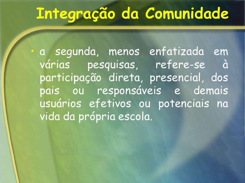 Integração da Comunidade a segunda, menos enfatizada em várias pesquisas, refere-se à participação direta, presencial, dos pais ou responsáveis e dema