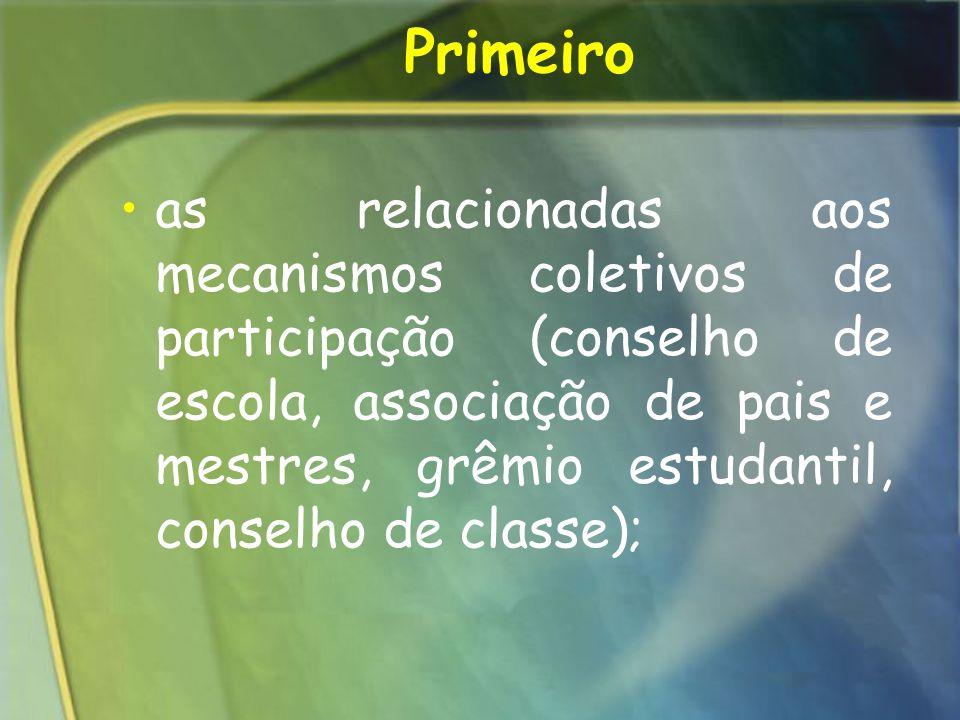 Primeiro as relacionadas aos mecanismos coletivos de participação (conselho de escola, associação de pais e mestres, grêmio estudantil, conselho de cl