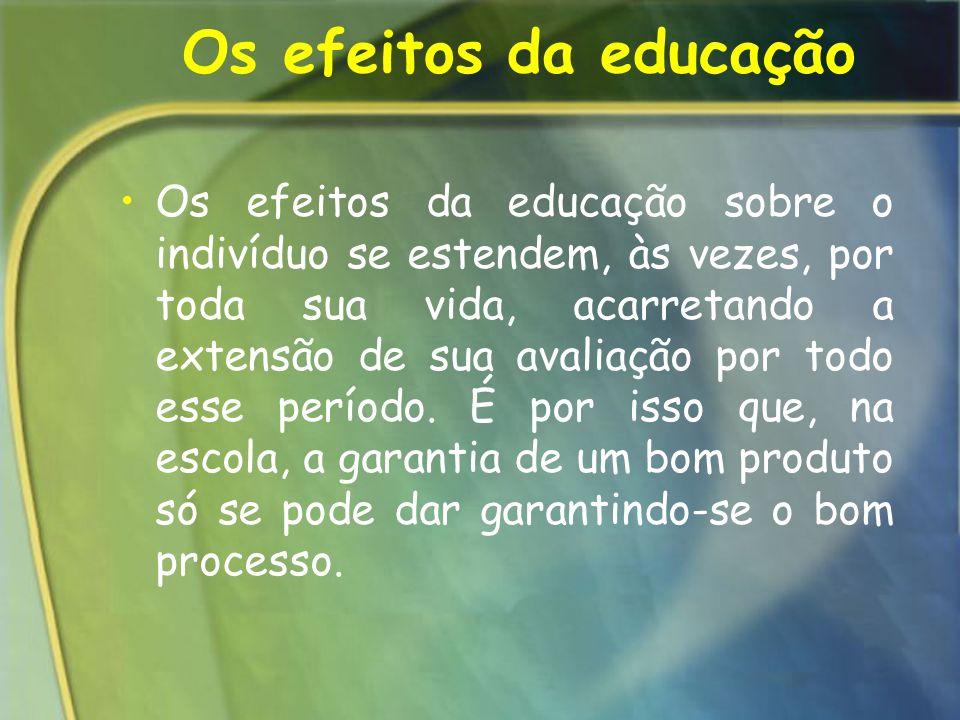 Os efeitos da educação Os efeitos da educação sobre o indivíduo se estendem, às vezes, por toda sua vida, acarretando a extensão de sua avaliação por