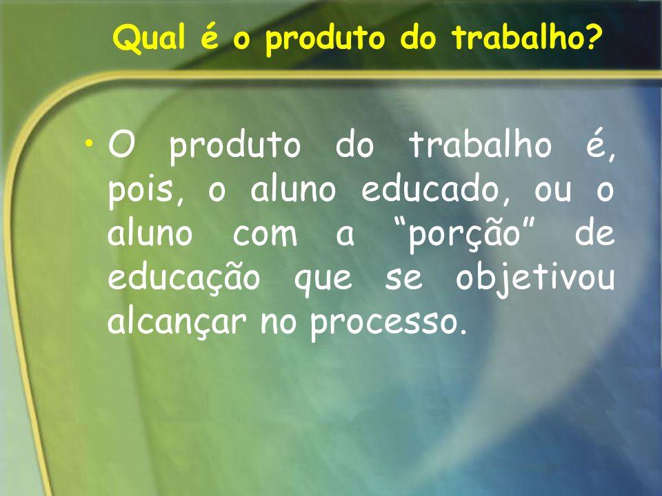Qual é o produto do trabalho? O produto do trabalho é, pois, o aluno educado, ou o aluno com a porção de educação que se objetivou alcançar no process