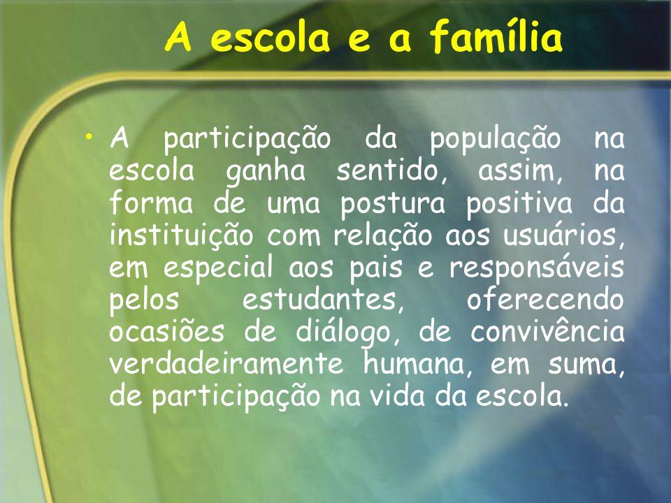 A participação da população na escola ganha sentido, assim, na forma de uma postura positiva da instituição com relação aos usuários, em especial aos
